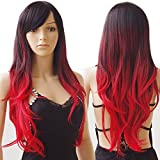 Long Ombre Cosplay Hair Wig Women Wavy Synthetic Costume Wig 28' Black to Red
