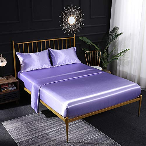 HEAR Lavender Soft Silky Satin Sheet Set Queen 4 Piece Luxury 16 Inch Deep Pocket Bed Sheet Set Wrinkle Fade Resistant Hypoallergenic Breathable Cool Sheets-Queen, Lavender