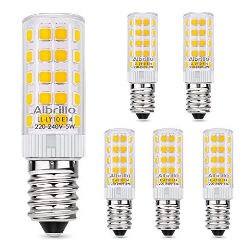 Albrillo 5er Pack 5W E14 LED Lampe 500 Lumen, Kein Flackern und 3000k warmweiß E14 Mini LED Leuchtmittel Ersatz 60W E14 Halogenlampe, 360°Abstrahlwinkel, Nicht Dimmbar