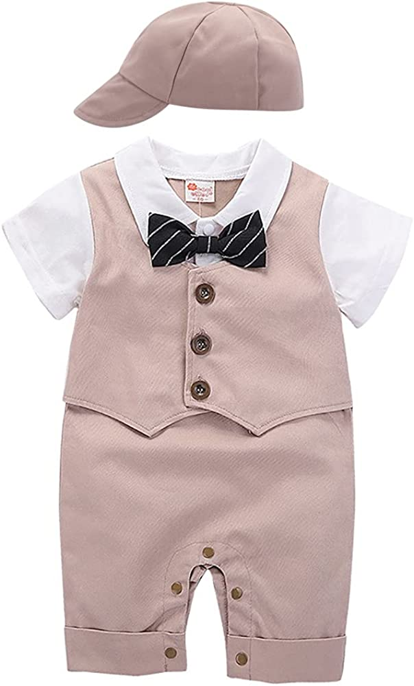 Baby Boys Gentleman Outfit White Shirt Bowtie Tuxedo Jumpsuit with Beret Hat Overall Romper Wedding Ring Bearer Suits
