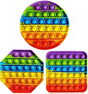 Bubble Sensory Fidget Toy Autism Special Needs Stress Reliever, Rainbow Pop Bubble Sensory Fidget Toy (3 PCS(Octagon/Roun...