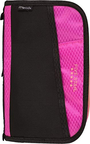 Five Star Pencil Pouch, Pen Case, Fits 3 Ring Binder, Multi-Pocket Pouch, Pink/Coral (50162CD8)