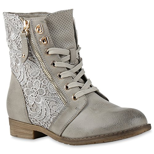 Damen Biker Boots Schnallen Stiefeletten Blockabsatz Prints BootiesRockige Damen Schuhe 135361 Grau Spitze 36 Flandell