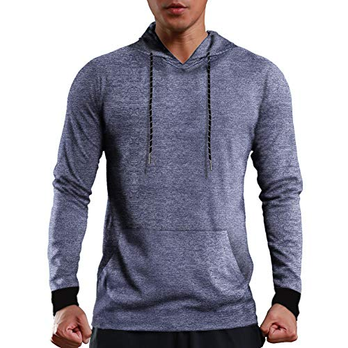 COOFANDY Herren Langarmshirt Laufshirt Pullover Dünner Classic Sweatshirt elastisches Sportshirt Baseball-Sweatshirt Kapuzenpullover mit hohem Kragen