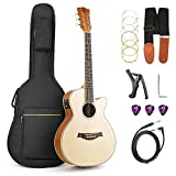 Electric Acoustic Guitar 36 Inch 3/4 Cutaway Guitar Travel Bundle Spruce Top for Beginners Adults,...