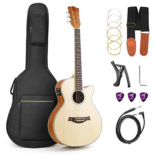 Electric Acoustic Guitar, Cutaway 36 Inch 3/4 Travel Guitar Spruce Top Bundle Kit with Truss Rod Allen Key for Beginners Adults, Natrual, by Vangoa
