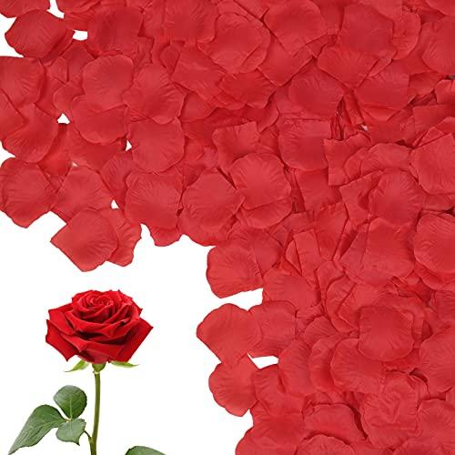 Vicloon Pétales de Roses, 1200pcs Pétales Artificiels en Soie Rose Pétales de Rose Rouge, Confettis Décorations pour Fête de Mariage, Proposer, Fête des mères, Engagement