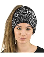 TOSKATOK® Dames Womens Plain Paardenstaart Rommelige BUN Geribbelde Winter Beanie HAT Cap Haarband