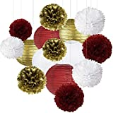 Burgundy Gold Birthday Party Decorations Burgundy White Gold Tissue Pom Poms for Burgundy Birthday Decorations for Women/Fall Birthday Decorations