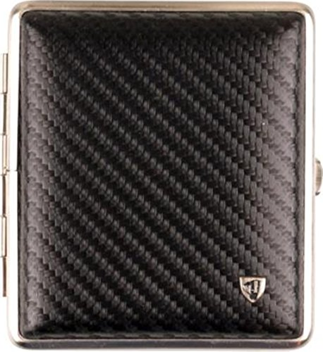 Zigaretten -Etui Leder Carbonoptik schwarz Rahmen nickel matt 18er mit Gummiband