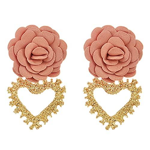 Arete Elegantes Pendientes Colgantes De Corazón De Oro Étnico Para Mujer Punk Personalidad Encantadora Flor Pendiente De Declaración-Orange_Pink