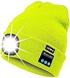 ATNKE Berretto Bluetooth con LED Illuminato, USB Ricaricabile Wireless Musicale Cappello da Corsa Ultra Bright 4 LED Impermeabile Lampada Uso per Sci Escursionismo (Giallo Fluorescente)