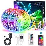 Tiras de LED Bluetooth 20M/65.6Ft 600 de luz LED con control de aplicaciones, ALED LIGHT Music Sync Bright 5050 Tiras de luces RGB de cambio,control remoto IR y caja de control