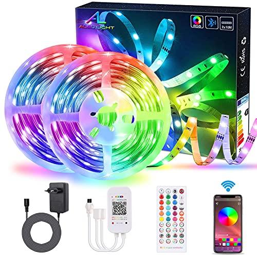 Striscia LED Bluetooth 20M / 65.6Ft con Controllo App, ALED LIGHT Sincronizzazione Musica Cambio Colore Flessibile RGB 5050 600 LED Kit Strisce Luminose con Telecomando IR per la Casa Decorazione