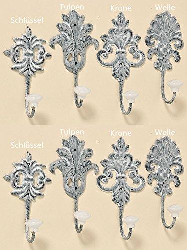 Tamia-Home Wandhaken Kleiderhaken Metallhaken Haken für Bad Küche Garderobe, Haken im Retro Vintage Stil (8er Set grau)