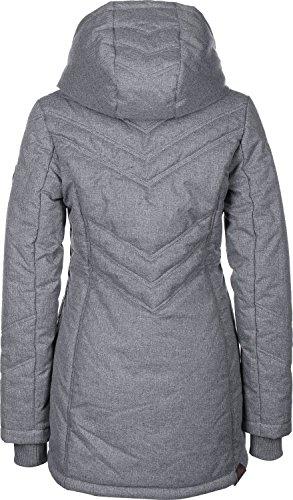 Ragwear RW 172160030 Asha wasserdichter und Warmer Wintermantel, lang und tailliert geschnitten, mit wärmender Wattierung, Kapuze mit elastischem Kordelzug Grau (grey-3001), EU s