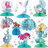10 Piezas Centros de Mesa de Sirena Panal en Forma de Sirena Centro de Mesa Bajo Mar Topper Oceánico de Mesa Decoración de Vajilla de Sirena para Baby Shower Cumpleaños de Tema de Sirena