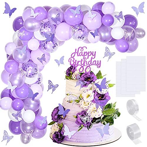Kit de 151 Piezas Arco de Guirnalda Globos Mariposa Rosa Globos de Bricolaje con Mariposas de Papel Topper de Tarta de Cumpleaños para Decoraciones de Bodas de Fiesta de Cumpleaños (Rosa)