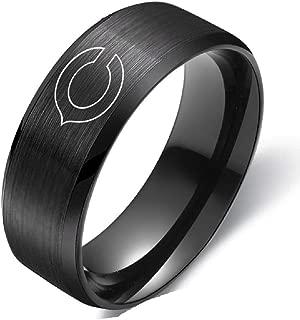 FlyStarJewelry Chicago Bears Ring Black Titanium Steel Football Men Sport Ring Band Size 6-13