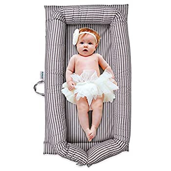 Windream Baby Nest Baby Lounger-Grey Striped Breathable Washable Portable and Lightweight Perfect for Cuddling Lounging Co Sleeping Napping and Travel Bassinet 0-24 Months