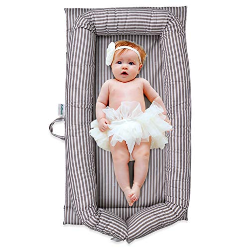 Windream Baby Nest Baby Lounger-Grey Striped Breathable, Washable, Portable and Lightweight Perfect for Cuddling, Lounging, Co Sleeping, Napping and Travel Bassinet(0-24 Months)