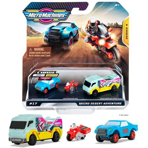 Pack de Inicio de Micro Machines, Desert Racers - Incluye 3 vehículos, Coche de Carreras, Moto y camión - Posibilidad de Algo Raro - Colección de Coches de Juguete de Micromachines