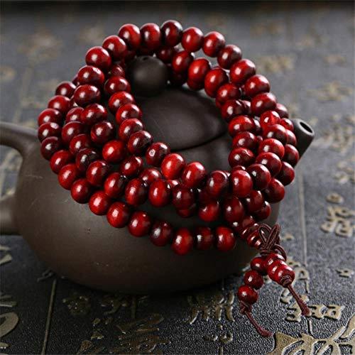 Heng Multicapa 108 Pulsera de Cuentas de Madera Budista Tibetano Mala Buda Charm Rosario Pulsera Yoga para Mujeres Hombres Joyería, Rojo Oscuro