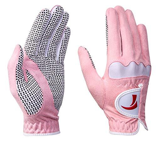 Sommer Dünnschliff Atmungsaktive Golfhandschuhe für Damen Elastische, rutschfeste Golfhandschuhe mit Pastenriemen Leicht zu tragende Golfhandschuhe aus blauem, rosa und faserfreiem Stoff , Einfach zu