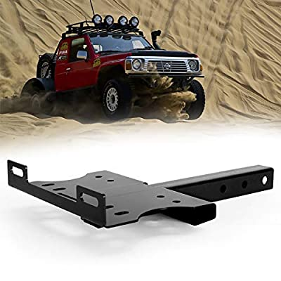 """BUNKER INDUST Receiver Hitch Winch Cradle Mount Plate, Universal 2"""" Trailer Hitch Winch Mounting Bracket for ATV UTV Truck"""