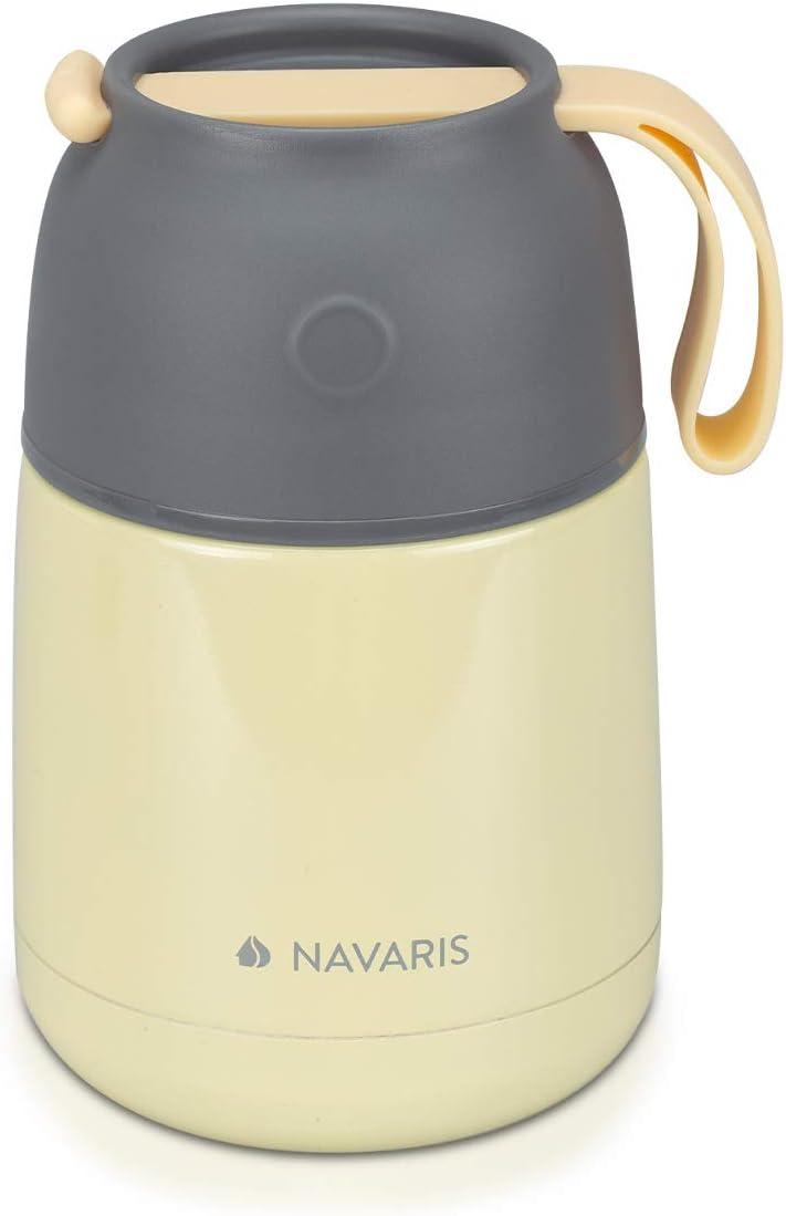 Navaris Termo Comida Caliente - Recipiente para Mantener frío y Caliente - De Acero Inoxidable y con Capacidad para 450 ML - en Amarillo