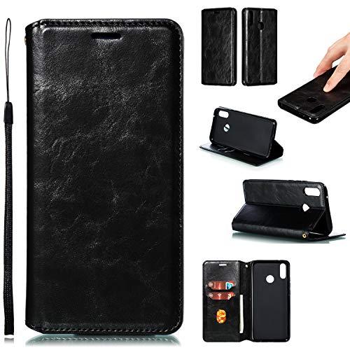 LODROC Huawei Y9 2019 Hülle, TPU Lederhülle Magnetische Schutzhülle [Kartenfach] [Standfunktion], Stoßfeste Tasche Kompatibel für Huawei Y9 2019 - LOYKB0200405 Schwarz