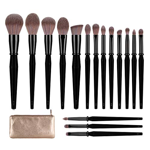 16 Piece Professional Makeup Brush Set with Travel Leather Case Now $24 (Was $38)