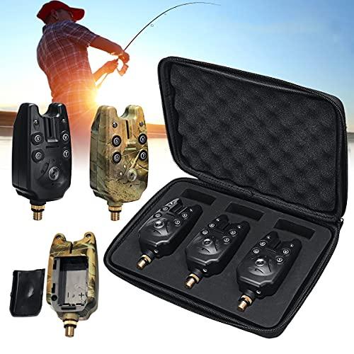 HaiMa 1/3 Piezas De Pesca Mordida Alarma Azul Indicador De Luz Alerta De Sonido De Pesca Tackle De Caza Al Aire Libre - Camuflajesa