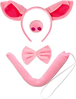 XINRUI BKpearl 4 Piece Pig Costume Accessories, Pig Ears Headband Pig Nose Tail and Bowtie for Cosplay Show Party