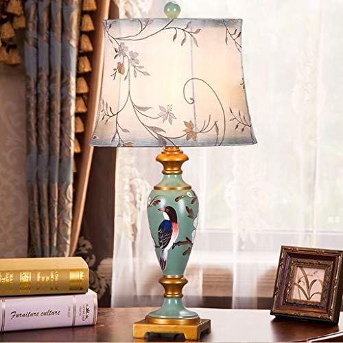 Lfixhssf Desk Lamp Amerikaans antiek slaapkamer bedlampje decoratie van de woonkamer hars verlichting en doek schakelaar E27 Lfixhssf (maat: L)
