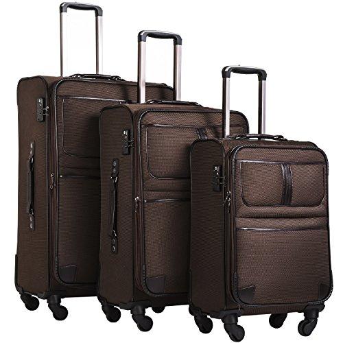 COOLIFE Stoff-Koffer Rollkoffer Leichtgewicht Reisekoffer Vergrößerbares Gepäck mit TSA-Schloss und 4 leiser Rollen (Braun, Koffer-Set)