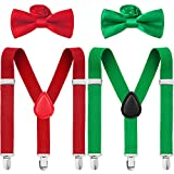 4 Pieces Kids Christmas Suspenders and Bowtie Set, Adjustable Suspender and Bowtie Party Favor Red and Green)