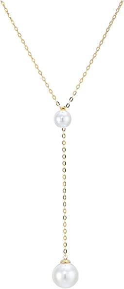 Rosa 8-12mm White Pearls Chain Pendant in Gold Plated Silver