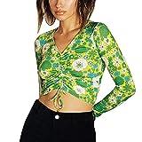 Blusa de manga larga con cuello en V y cordón fruncido para mujer Y2K, verde, L