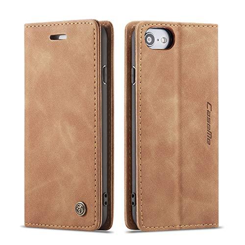 QLTYPRI Hülle für iPhone 6 6S, Vintage Dünne Handyhülle mit Kartenfach Geld Slot Ständer PU Ledertasche TPU Bumper Flip Schutzhülle Kompatibel mit iPhone 6 6S - Braun