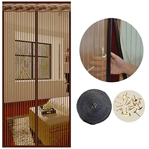 SUNJUN Cortina mosquiteras para puertas, 120 x 220cm, Anti insectos moscas y mosquitos, Con imanes cierre automático y, Para puertas correderas/balcones/terraza(marrón)