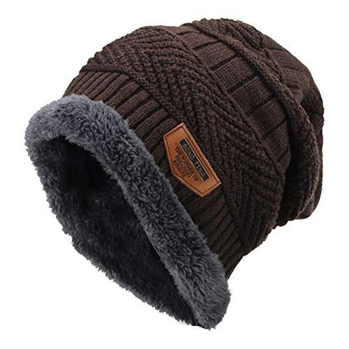 Muts mannen unisex wintergeometrische kabels gebreide hoed slouchy jacquard haken vaste beanie muts dikke fleece voering baggy oor warmer