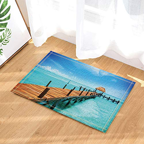 SRJ2018 Wasser Board Brücke zum Pavillon im entfernten Reetdach Super saugfähig, Rutschfeste Matte oder Fußmatte, weich und komfortabel