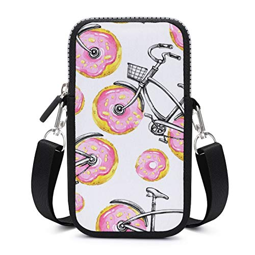Cellphone Purse Crossbody with Removable Shoulder Strap Donuts Bicycles Wear-resistant Pouch Case for Money Wrist Wallet Yoga Bags Women