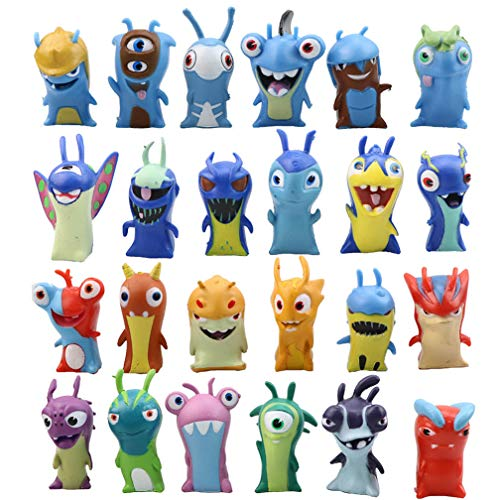 Generies 24pcs Mini Slugterra Figura Juguete Niños Regalo Decoración de la Torta Elf Cartoon Juguete
