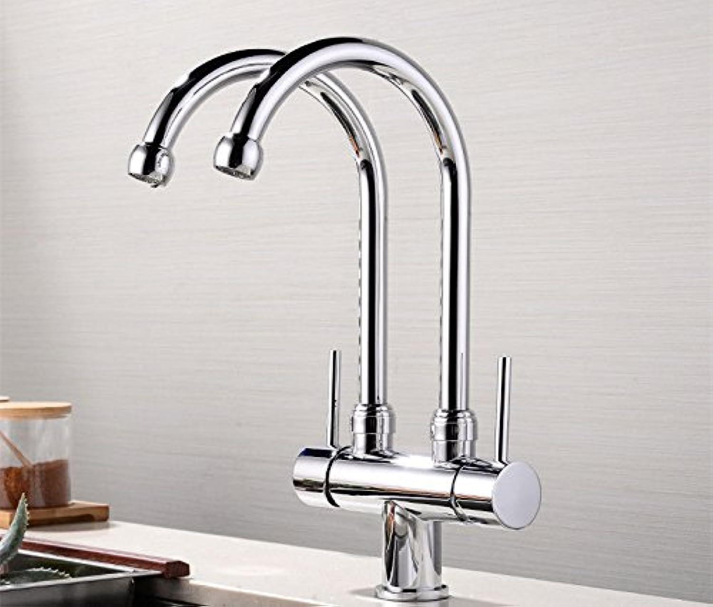 QIMEIM Spültischarmatur Wasserhahn Küche Messing kalt hei Chrom Spültisch Armatur Küchenarmaturen Waschtischarmatur