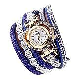 P Prettyia Reloj de Pulsera Diamantes Reloj de Pulsera para Mujer Reloj de Cuarzo Diseño Multicapa - Azul