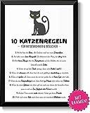 Lustige Katzenregeln Hausordnung Bild im schwarzem Holz-Rahmen Geschenk Geschenkidee für alle...