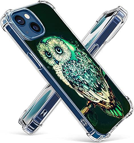 Owl Case for iPhone 13 Mini,Gifun Hard PC+TPU Bumper Clear Protective Case Compatible with iPhone 13 Mini 5.4' 2021 - Green Owl