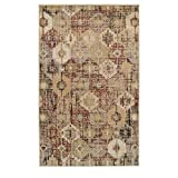 Superior 8mm Pile Height with Jute Backing, Vintage Distressed Medallion Pattern, Fashionable and Affordable Woven Rugs, 5' x 8' Rug, Gold
